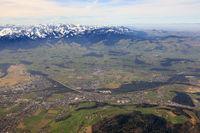 Heimberg mit Alpen Schweiz Luftbild