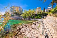 Rocky beach and Lungomare walkway in Opatija