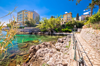 Rocky beach and Lungomare walkway in Opatija