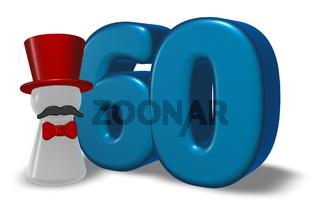 die zahl sechzig und spielfigur mit zylinder und schnauzbart - 3d illustration