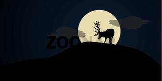 Hirsch vor dem Mond