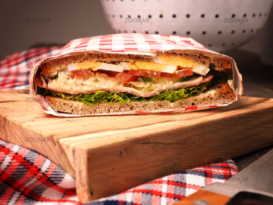 Tasty homemade sanchwich with organic ingredients