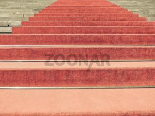 Vintage looking Red carpet on stairway