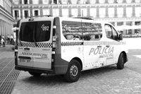 Police car on Plaza Mayor