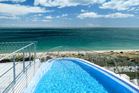Swimming pool and view to the Mediterranean Sea. Spain