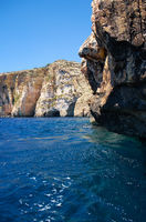 Steep cliff over Mediterranean sea on south part of Malta island