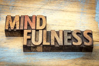 mindfulness word in letterpress wood type