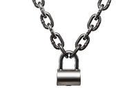 Hardened steel cargo lifting metal chain locked on padlock