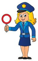 Policewoman holds stop sign theme 1