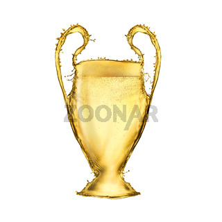 Football cup made from beer isolated on white background