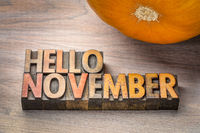 hello November word abstrtact in wood type