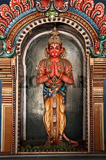 Hanuman statue in Hindu Temple. Sri Ranganathaswamy Temple. Tiruchirappalli (Trichy)