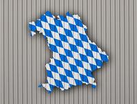 Karte und Fahne von Bayern auf Wellblech - Map and flag of Bavaria on corrugated iron