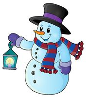 Snowman with lantern theme image 1