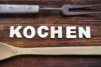 Kochen Küche auf altem Holzbrett