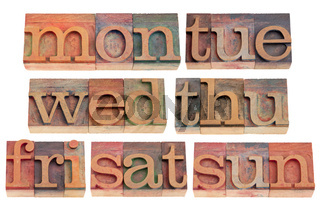 days of week in letterpress type
