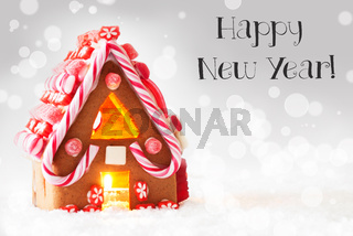 Gingerbread House, Silver Background, Text Happy New Year