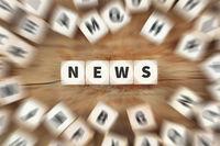 News Online Zeitung Nachrichten Würfel Business Konzept