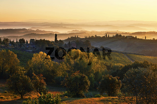 Landschaft bei San Gimignano, Toskana, Italy