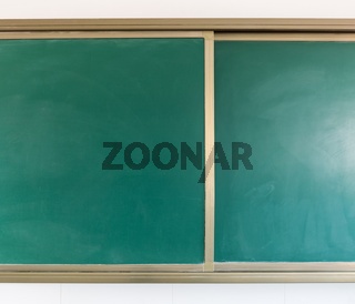 blank green chalkboard closeup