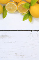 Zitrone Zitronen Früchte hochkant Textfreiraum von oben