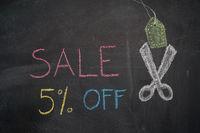 Sale 5% off on chalkboard