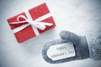 Red Gift, Glove, Text Happy Valentines Day, Snowflakes