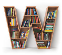 Letter W. Alphabet in the form of shelves with books isolated on white.