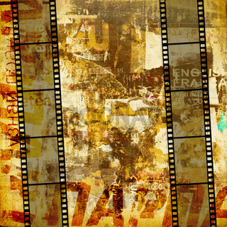 Grunge graphic abstract background with film digital