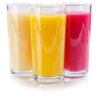 Saft Smoothie Smoothies im Glas Fruchtsaft Quadrat isoliert freigestellt Freisteller