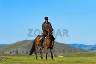 Reiter und Pferd in der Steppe, Orchon-Tal, Mongolei