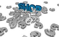 das wort shop und viele eurozeichen - 3d rendering
