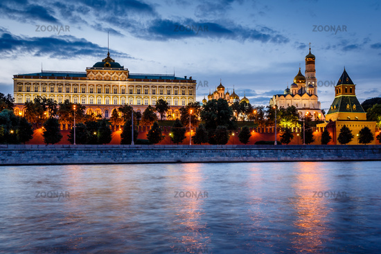 Moscow Kremlin and Moscow River Illuminated in the Evening, Russia