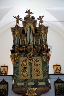 Beautiful organ in the church next to castle Olimje