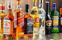 Bottles of assorted hard liquor brands