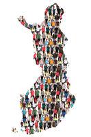 Finnland Karte Leute Menschen People Gruppe Menschengruppe multikulturell