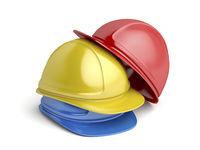 Safety helmets on white background
