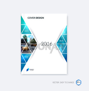 Abstract cover design, business brochure template layout, report, magazine or booklet in A4 with moving triangular geometric shapes on white background. Vector Illustration.