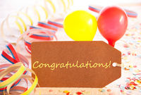 Party Label, Balloon, Streamer, Text Congratulations