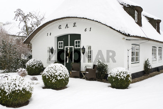 Reetdachkate in Sieseby im Winter