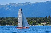 Sailing boat SUI 5 Team Til sailing on Lake Geneva, Bol d'Or Mirabaud regatta, Geneva, Switzerland
