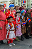 Locals in traditional deel costume at the Mongolian National Costume Festival, Ulaanbaatar, Mongolia