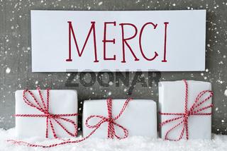 White Gift With Snowflakes, Merci Means Thank You