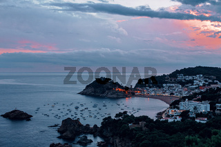 Buch sea with boats the famous Village of Tossa de Mar on the Costa Brava at Night,Catalonia,Spain