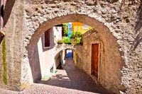 Old stone street of Limone sul Garda view