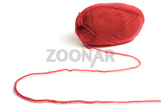 Woolen a thread for knitting red colors isolated on white