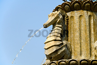 Close up of stone fountain of sea horse