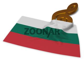 notenschlüssel und bulgarische flagge - 3d illustration