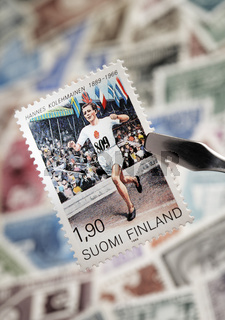 Finnish commemorative stamp from 1989. Hannes Kolehmainen (9 December 1889