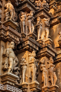 Famous sculptures of Khajuraho temples, India